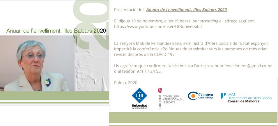 Presentació de l'Anuari de l'envelliment. Illes Balears 2020