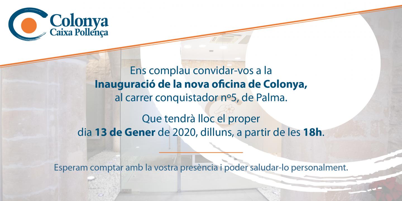 Invitación a la inauguración de la nueva oficina en la calle Conquistador nº 5 de Palma